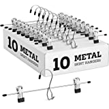 Heavy-Duty Add-On Metal Skirt Hangers with Clips 10 Pack, Multi Stackable Add on Metal Hangers, Adjustable Clip Pants Hanger,