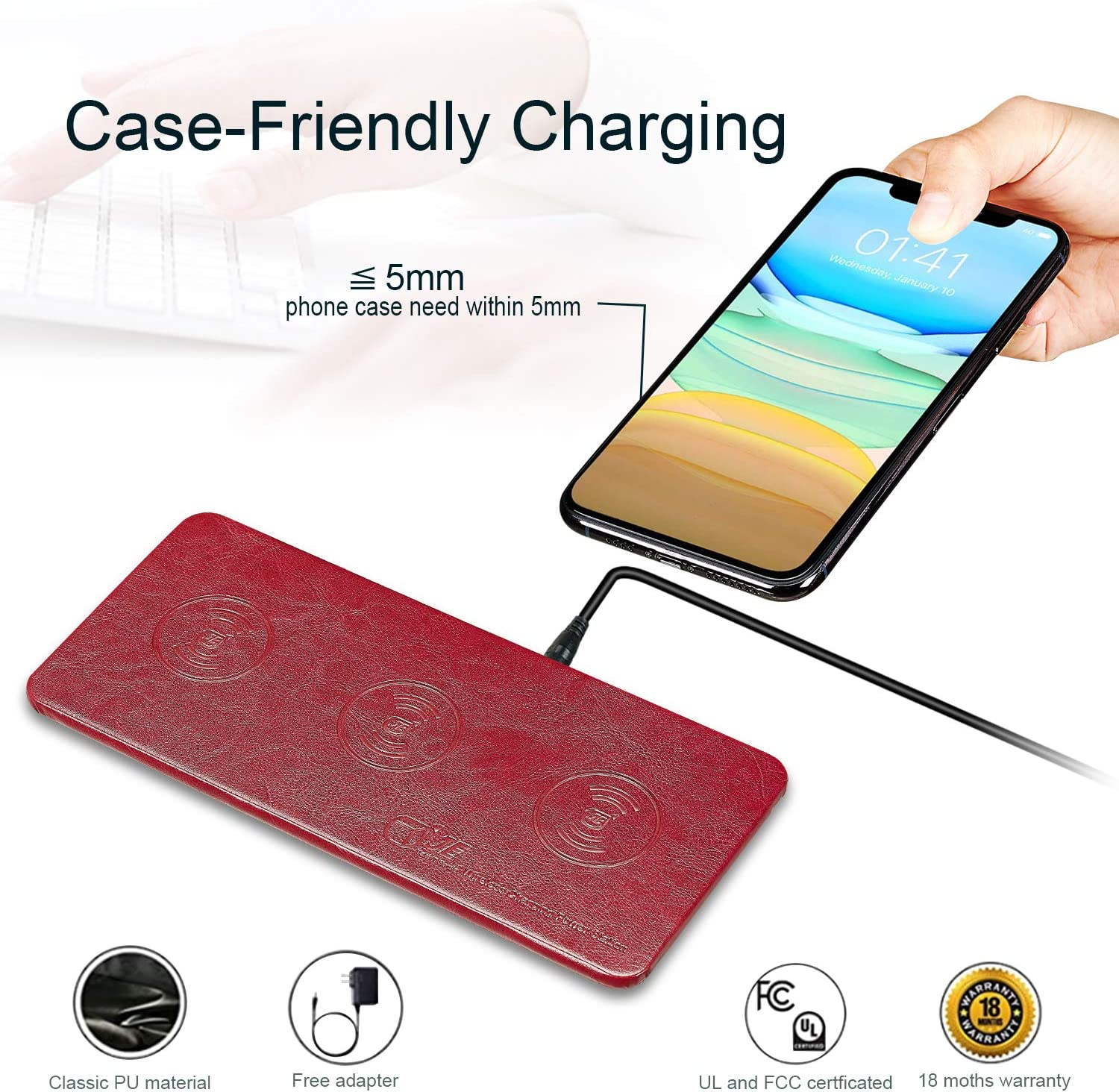 Wireless Charger Station New Airpods /& All QI Enabled Phones JE Qi Certified Ultra-Slim Leather Wireless Charging pad for Multiple Devices Compatible iPhone11//11 Pro Max//XR//8 Plus,Galaxy Note Series