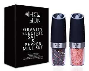 Black Battery Powered Gravity Automatic Pepper & Salt Grinder Set, Powerful Motor, Blue LED Light, Easily Control, Adjustable Coarseness Ceramic by CHEW FUN