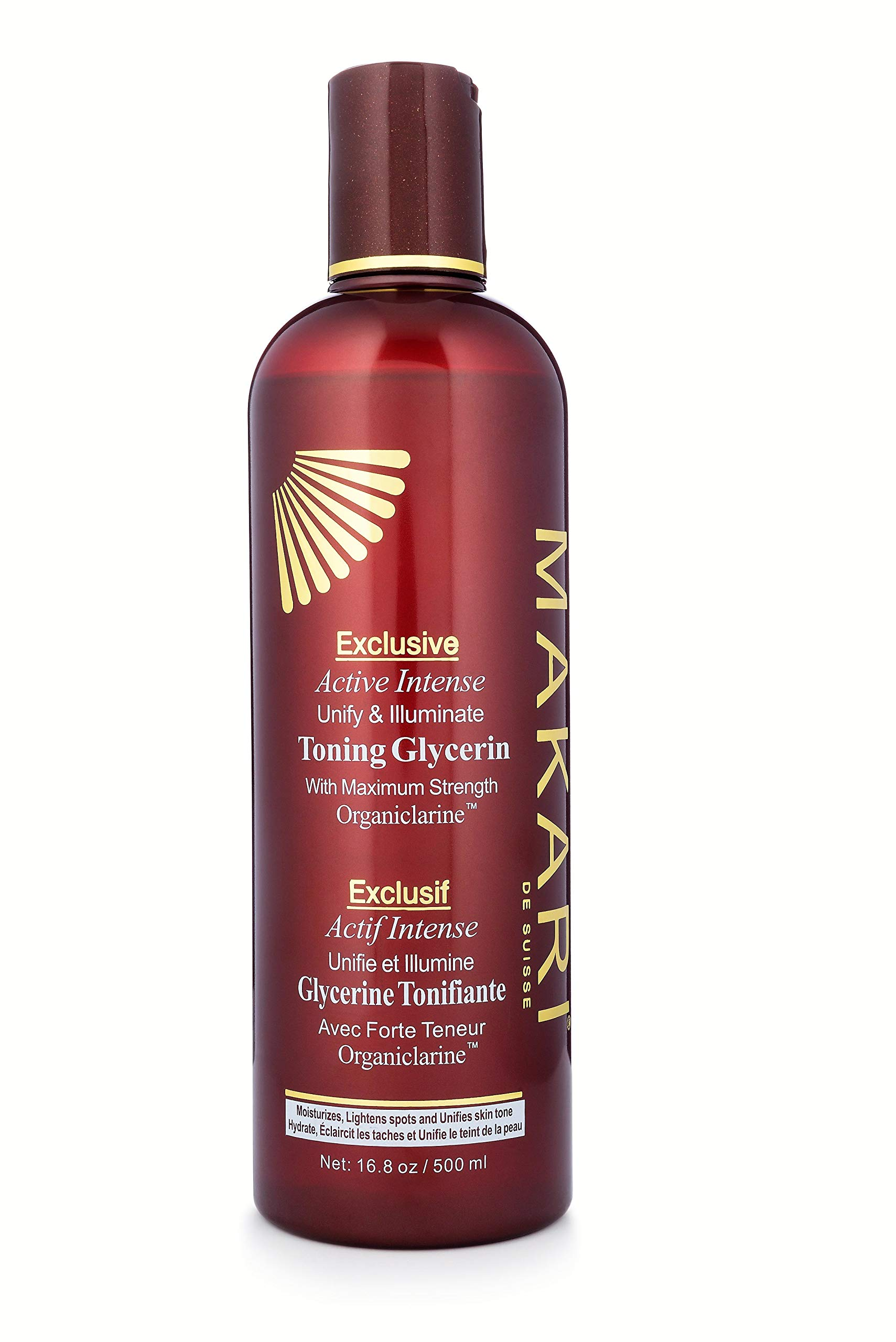 Makari Exclusive Active Intense Toning BODY Glycerin 16.8oz - Skin Lightening & Brightening Moisturizer for Body with Organiclarine - Whitening Treatment for Dark Marks, Age Spots, Scars & Freckles by MAKARI