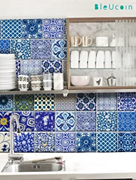 Stickers muraux carrelage indien Jaipur style poterie bleu ...