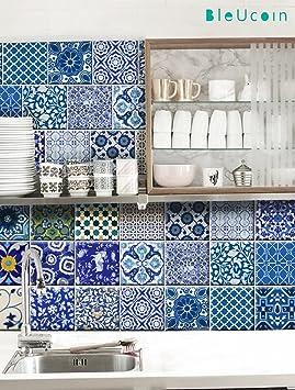 Stickers muraux carrelage indien Jaipur style poterie bleu ...
