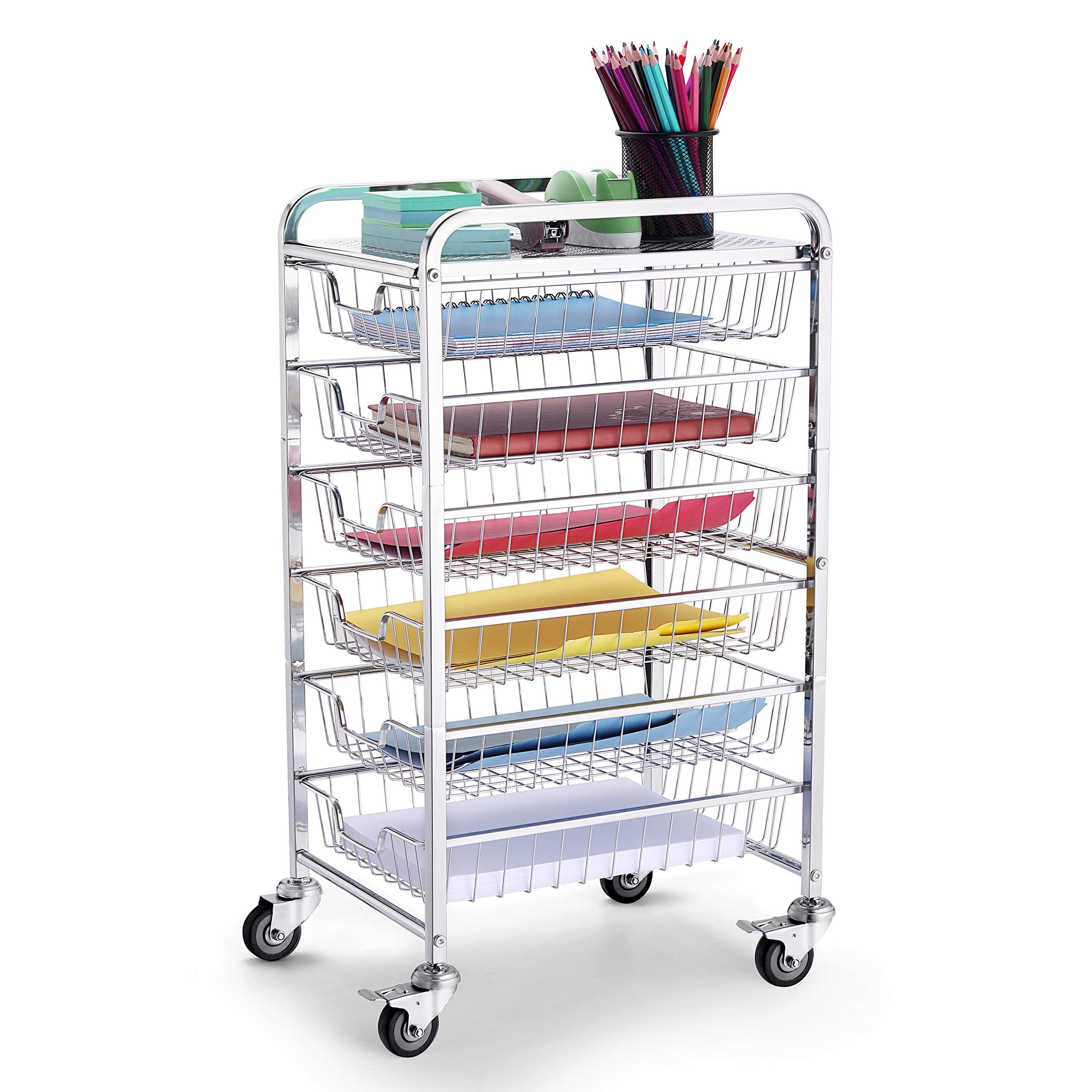 Simple Trending 6-Drawer Organizer Cart, Office Supplies Cabinet Organizer with Sliding Storage Drawers, Chrome by Simple Trending