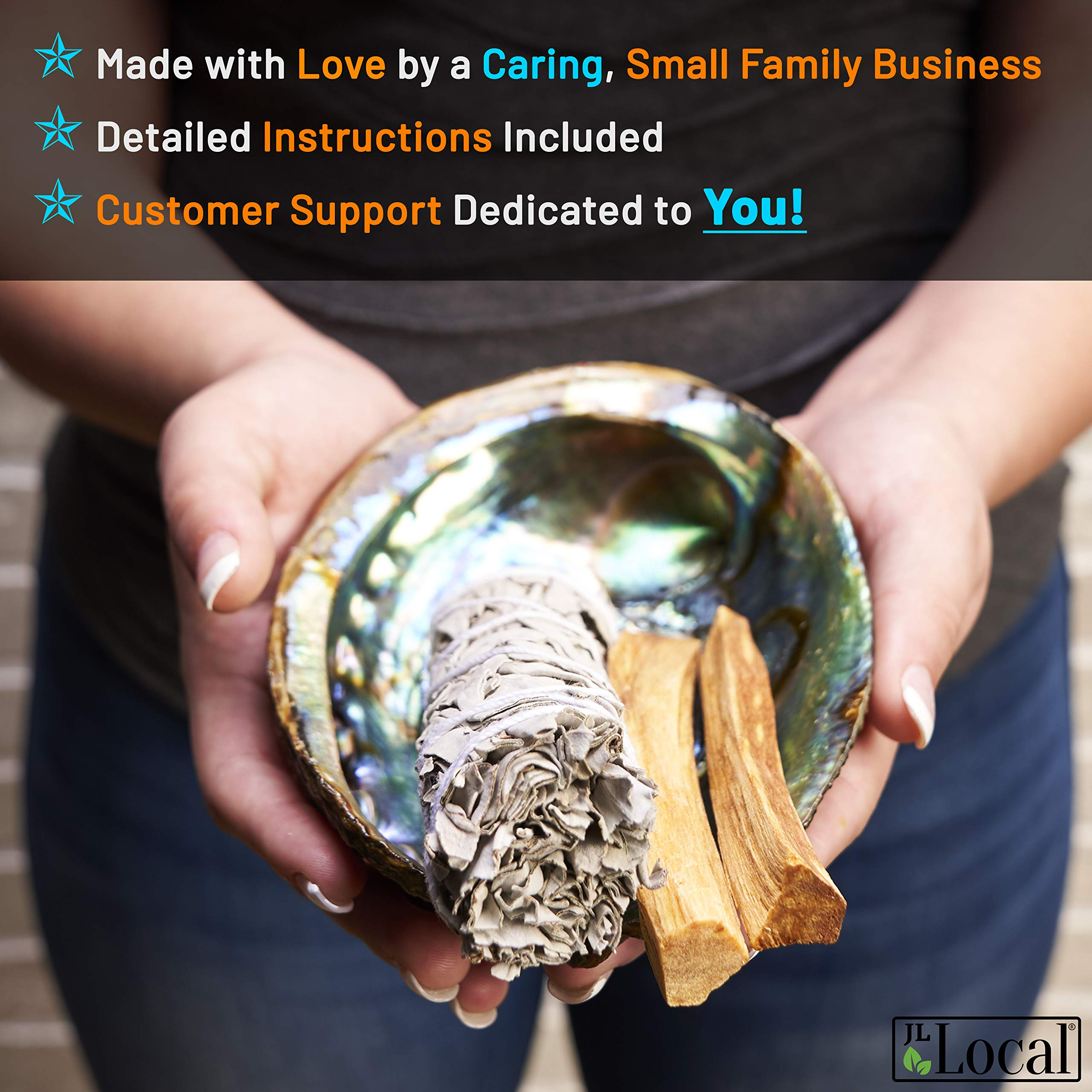 JL Local Smudge Kit - Sage, Palo Santo, Abalone Shell, Feather + More! Yoga, Meditating, Purify, Cleanse by JL Local (Image #5)
