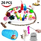 AILUKI 26PCS Cat Toys Kitten Toys Assortments, Variety Catnip Toy Set Including 2 Way Tunnel,Cat Feather Teaser,Catnip Fish,Mice,Colorful Balls and Bells for Cat,Puppy,Kitty