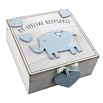 Baby Boy caja de recuerdo de recuerdos de madera estilo vintage: Amazon.es: Bebé