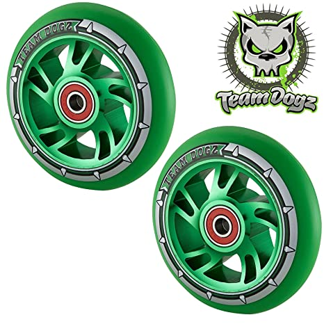 Team Dogz Ruedas de 100 mm para patinete (par), Core: Green ...