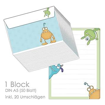 Schreibblock Briefblock Monster Din A5 Liniert 50 Blatt