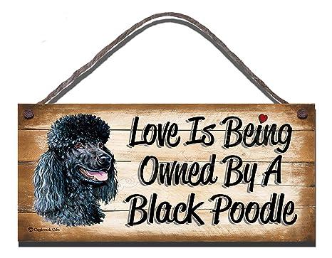 De caniche negro carcasa de madera con texto en inglés diseño de perro con texto en