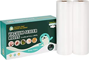 Happy Seal Vacuum Sealer Bags Roll for Food Saver,2 Rolls 11 Inch x 50 Feet(Total 100 Feet),Commercial Grade, BPA Free, Heavy Duty, Great for vac Storage, Meal Prep or Sous Vide