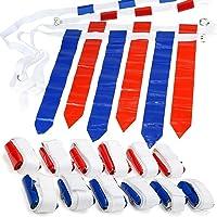 WYZ works - Juego de 12 Banderas de fútbol con 3 Banderas, 12 Cinturones con 36 Banderas [18 Rojas y 18 Azules]