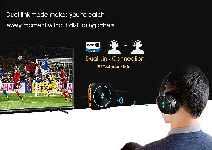 Zoweetek® Bluetooth 4.1 transmisor / Receptor AptX Baja latencia 2-en-1 y Inalámbrica A2DP Bluetooth Transmisor Audio Estéreor(conexión 3.5mm): Amazon.es: ...