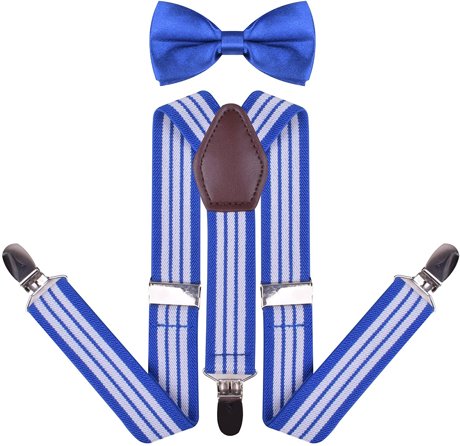 YJDS Mens Boys Leather Suspenders and Pre Tied Bowtie Set UEHGXZE448630
