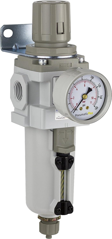 "PneumaticPlus SAW400-N04BG-MEP Compressed Air Filter Regulator Piggyback Combo 1/2"" NPT - Metal Bowl, Manual Drain, Bracket, Gauge"