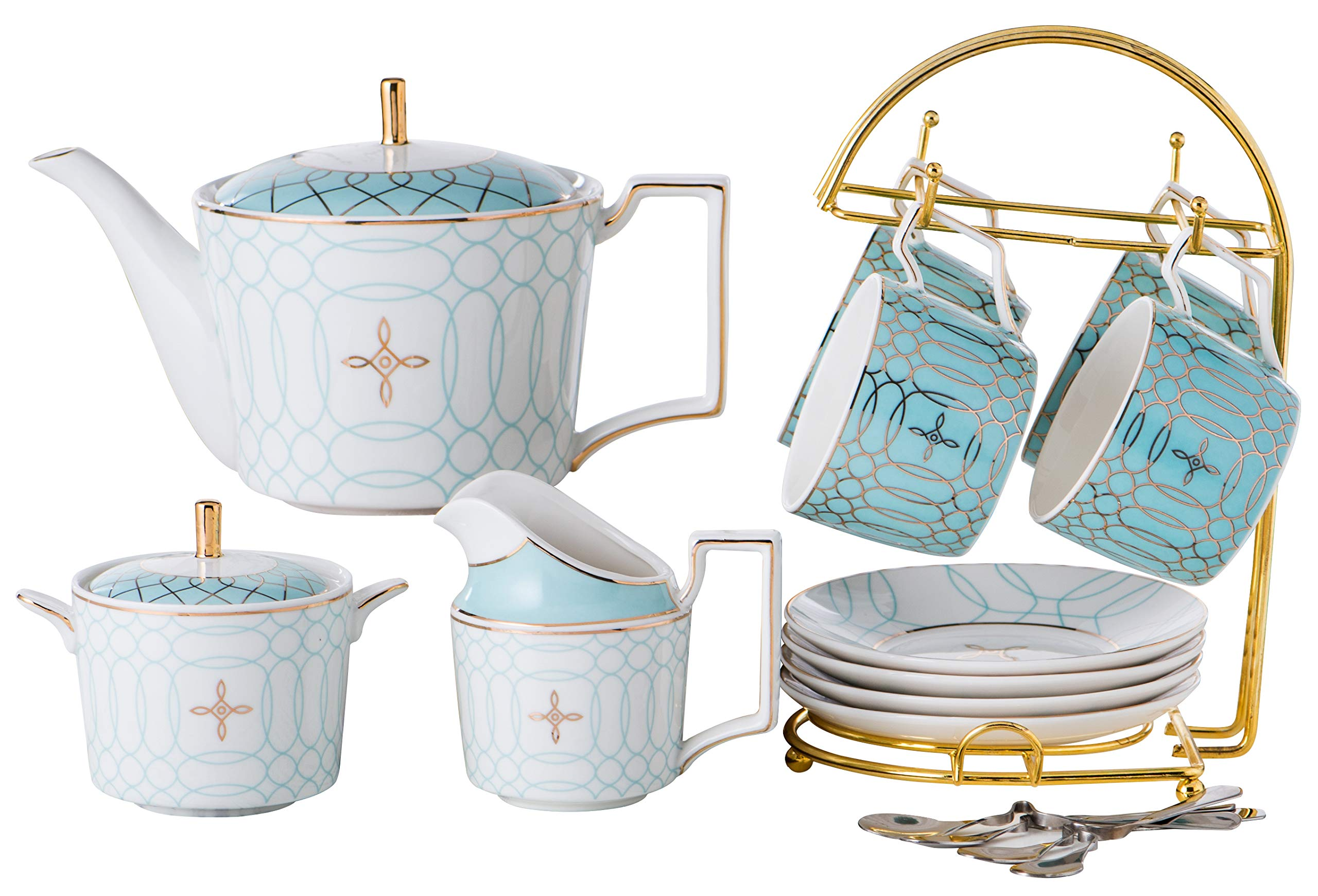 Jusalpha Elegant Gold Pattern Coffee Cup/Teacup Set, 7 OZ Cups & Saucer Service for 4, with Teapot-Sugar Bowl-Cream Pitcher Teaspoons (JQTCS15 Full set) (Blue)