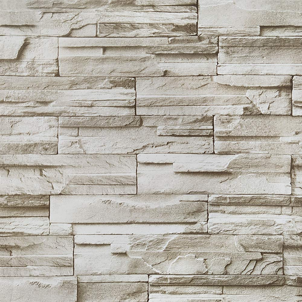 "Stone Peel and Stick Wallpaper 3D Effect 17.7""x196'' Brick Self-Adhesion Wallpaper Waterproof Removable Wallpaper for Fireplace Background Wall Living Room Bedroom Bathroom Home Decoration Vinyl Roll"