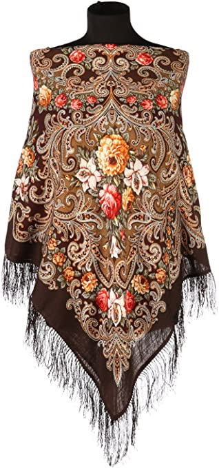 1661-12 WOMEN/'S PAVLOVO POSAD SHAWL RUSSIAN 100/%WOOL SCARF 89x89cm silk fringe