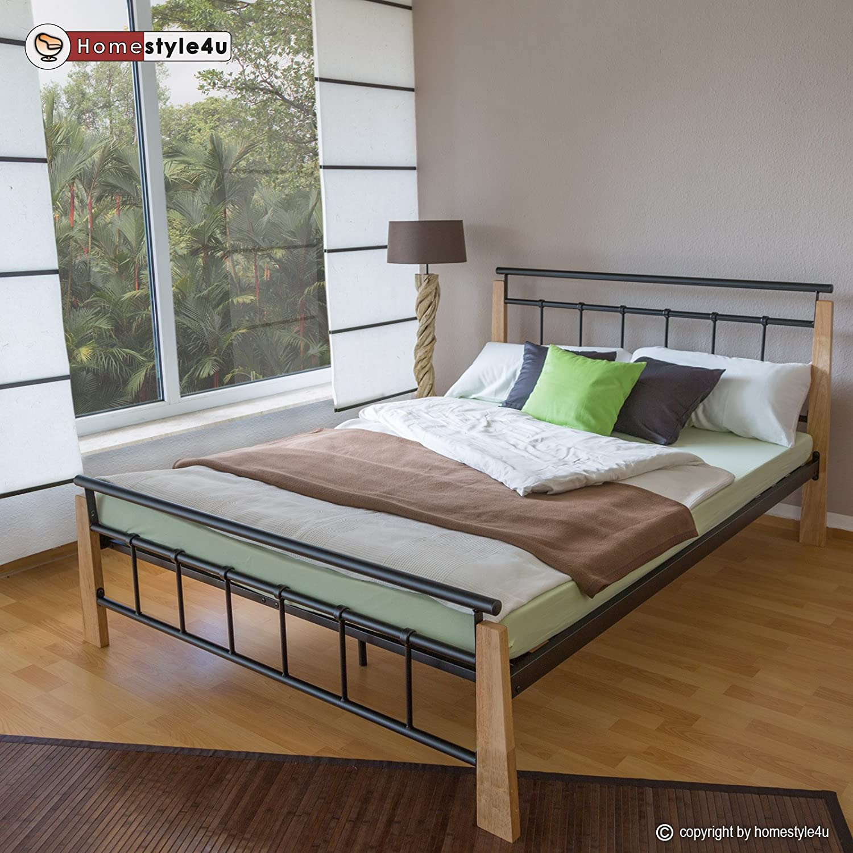 Homestyle4u 1275, Metallbett 140 x 200 200 200 Mit Lattenrost, Bettgestell Metall, Pfosten Holz Natur ce0460