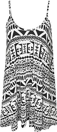 b46573a56fb WearAll - Mujeres Tallas Grandes Sin Mangas Impreso Mini Vestido Camisola  Chaleco Top - Aazteca Grande