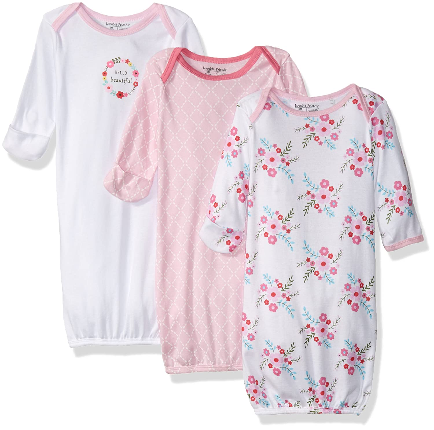 Luvable Friends Baby Girls' Gowns, 3 Pack Luvable Friends Baby Gowns Pink Bird 0-6 Months 33014