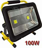 100W Ultra Bright MyraBec Cordless Rechargeable LED Floodlight, 2 Brightness Levels, for Contractors, Industrial Job Site & Large Areas