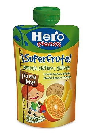 Hero - Bolsita De Fruta 100 g Naranja, Plátano Y Galleta