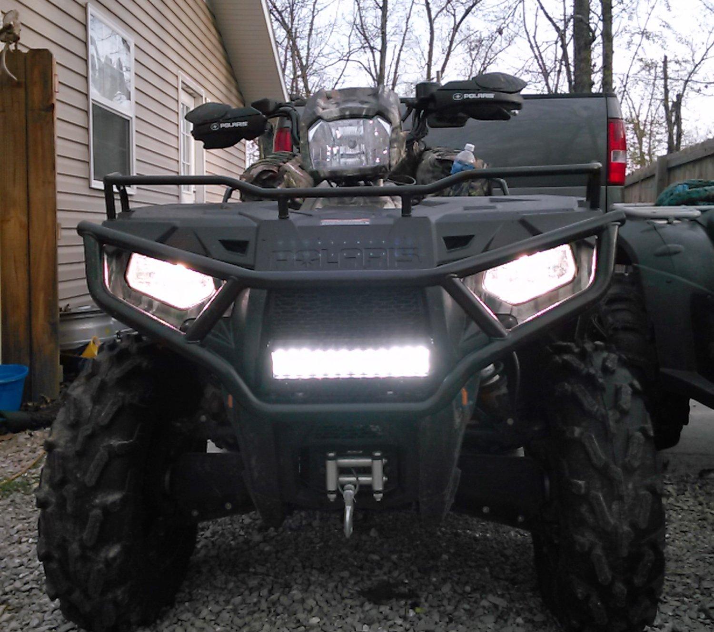 Front Grill or Hood Mounting Bracket For ATV UTV iJDMTOY 14 72W High Power LED Light Bar w// Universal Handlebar