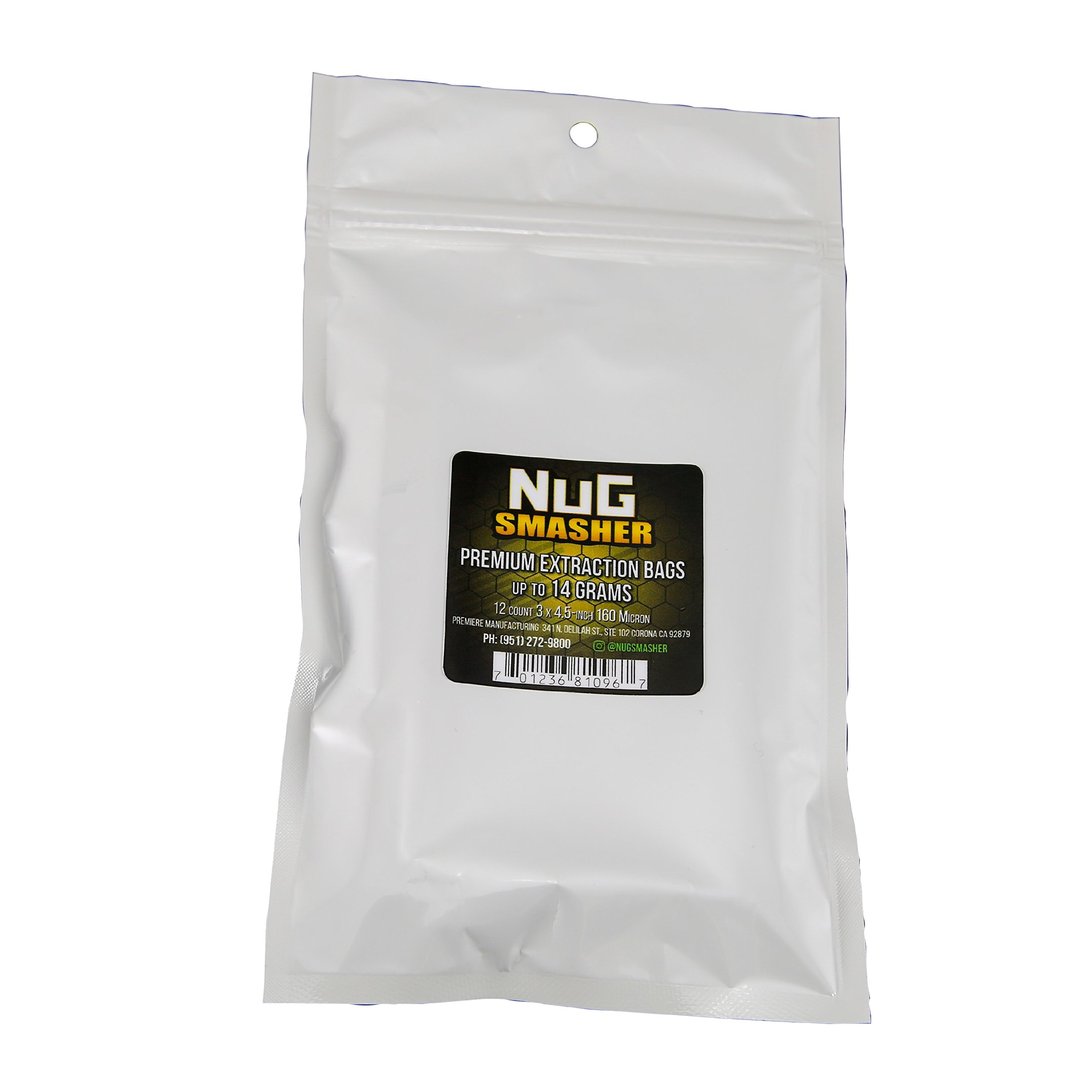 ROSIN PRESS BAGS 14 GRAM NUGSMASHER Premium Solventless Extraction Bags Hand Made In The USA (12 per pack) (160 Micron)