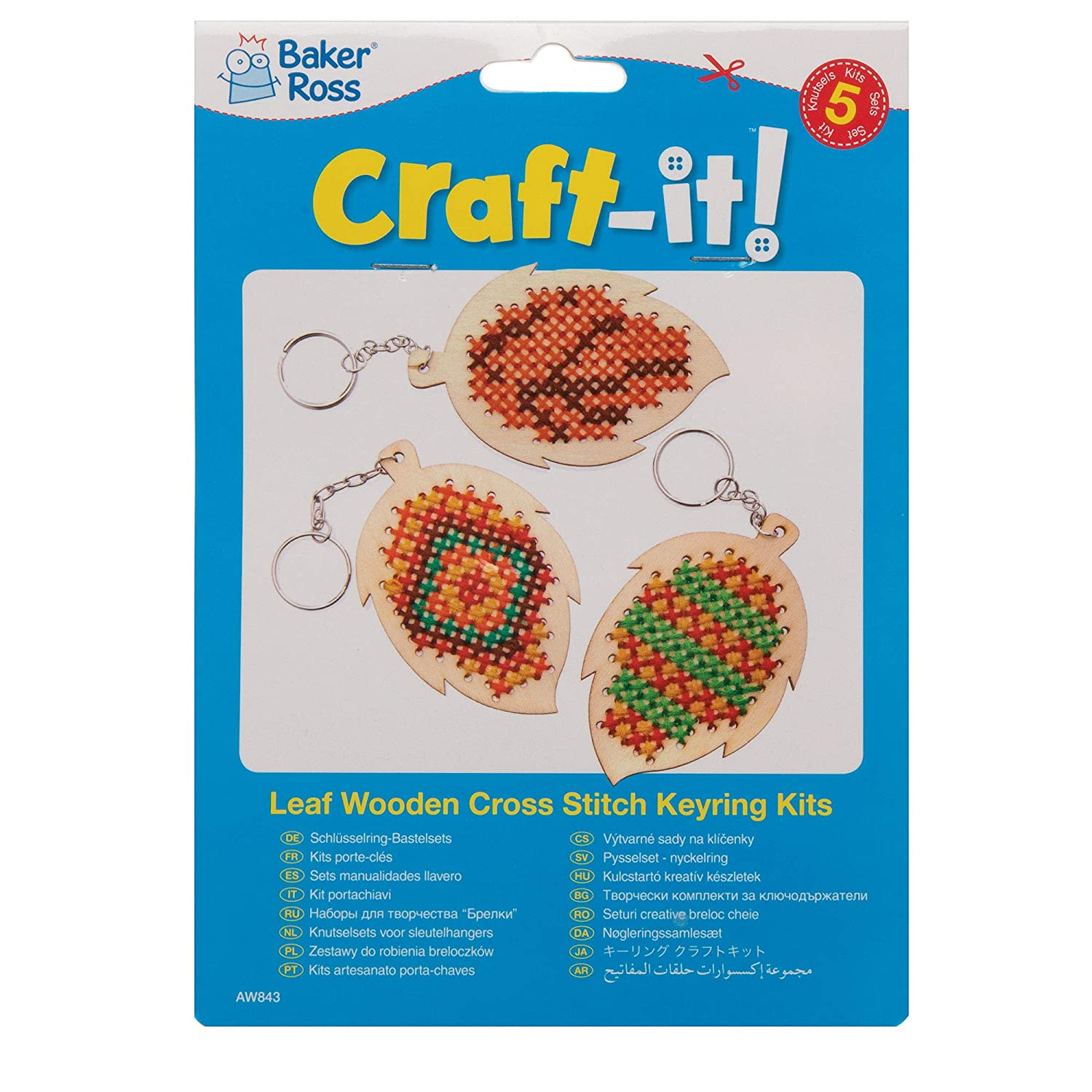 Amazon.com: Baker Ross Leaf Wooden Cross Stitch Keyring Kits ...