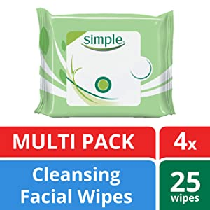Simplefor Sensitive Skin Face Cleansing Wipes 25 wipes, 4 count
