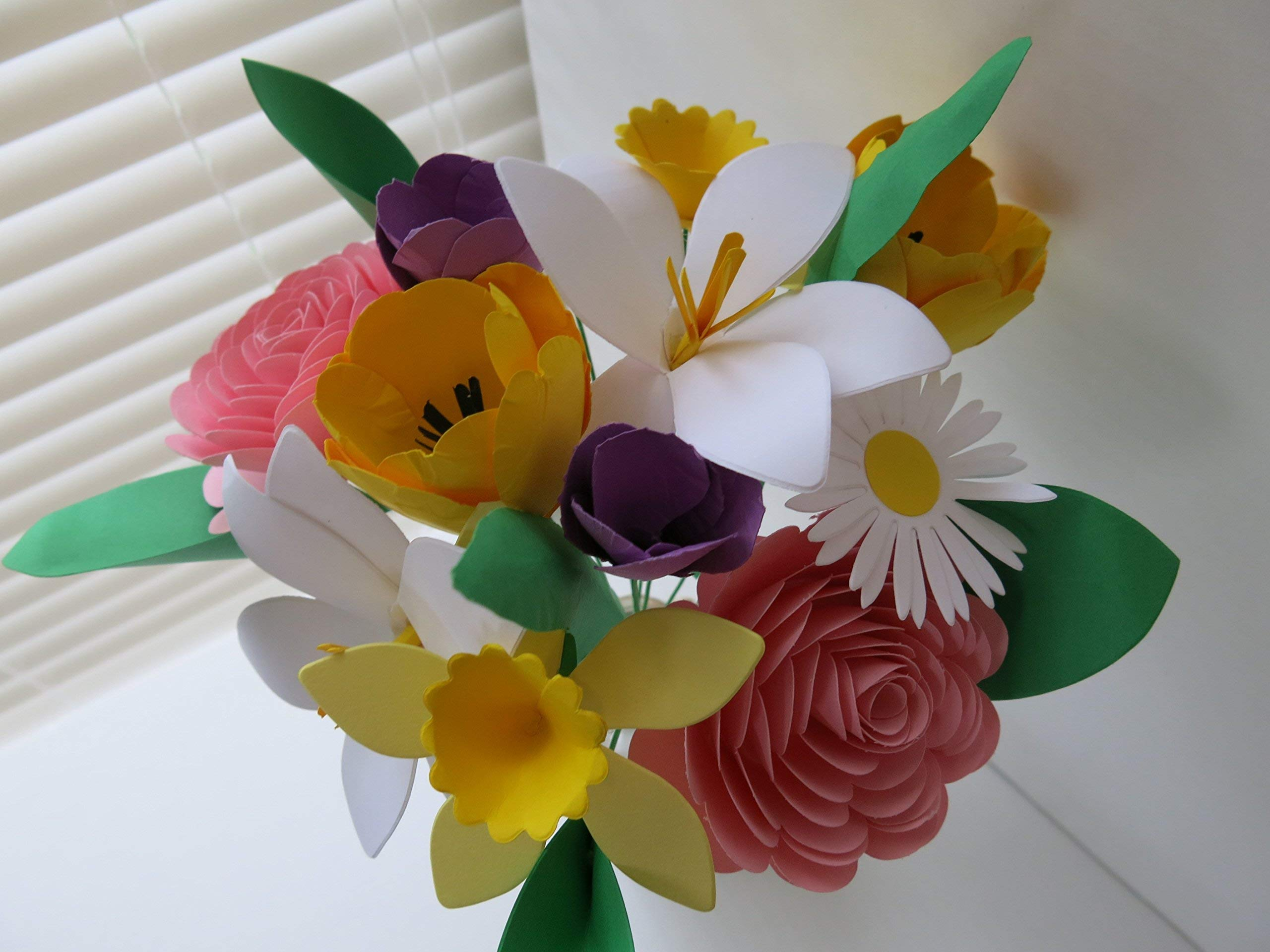 Mother's Day Bouquet, Spring Paper Flower Mix on Stems, Daffodil, Easter Lily, Crocus, Daisy, Rose, Tulip, Floral Arrangement