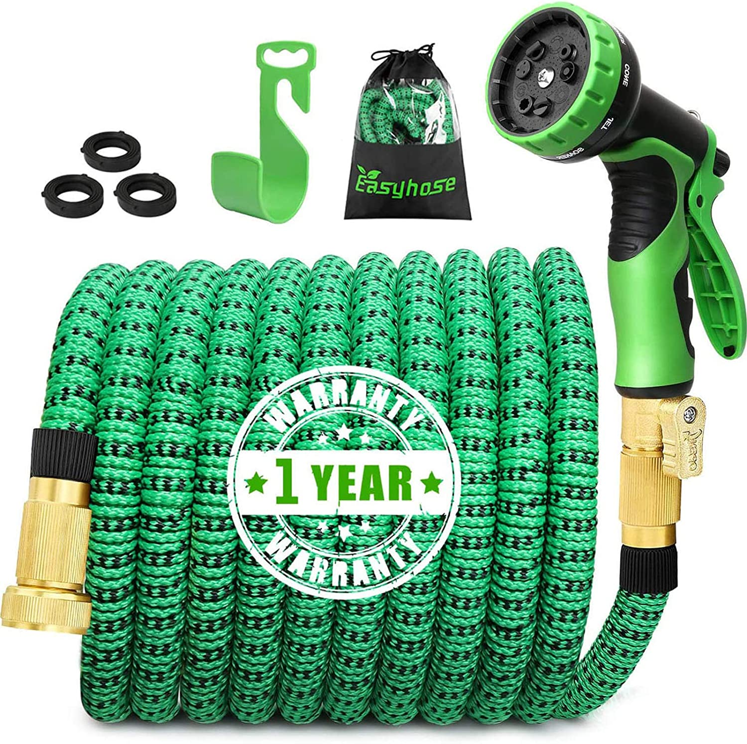 EASYHOSE Garden Hose 25ft,Expandable Garden Water Hose for yard With 9 Function Spray Nozzle, Durable three-layer latex core,Flexible Hose and Solid Brass Connectors,Easy store leak-proof garden hose