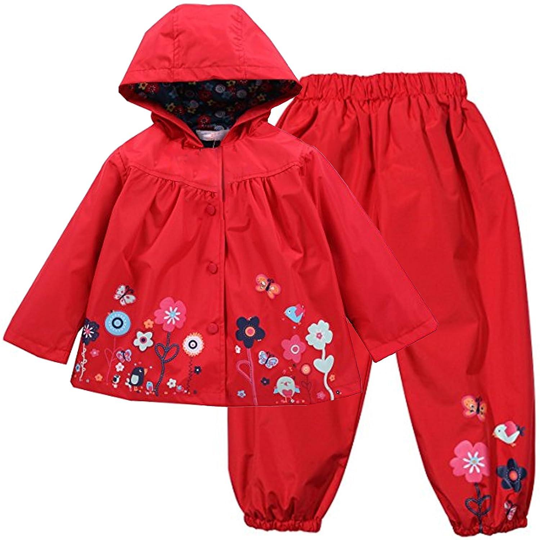 PongYou Waterproof Hooded Raincoat Lightweight Outdoors Rain Suits Windbreak Jacket Coat Rain Wear Pants for Boy and Girl