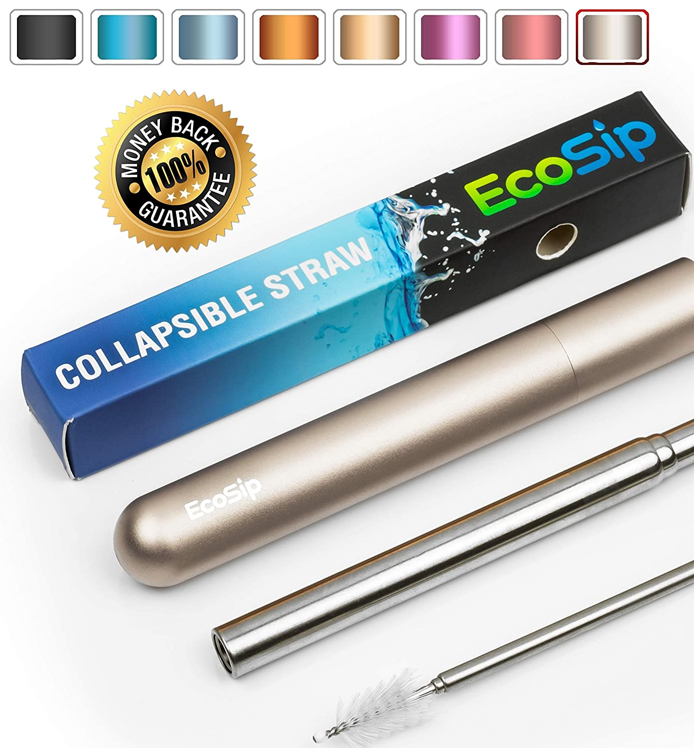 Collapsible Straw EcoSip | Telescopic Metal Stainless Steel Reusable | Portable Flex | Final Eco Friendly Foldable Travel Straw | Cleaning Brush Key Ring Hard Case | Silicone Tip | 4 Colors (Black).