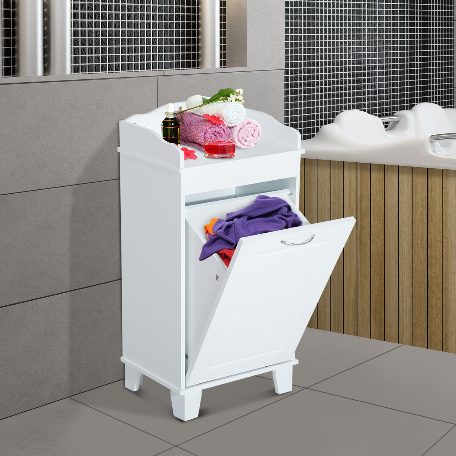 New White Bathroom Hamper Wood Laundry Tilt Out Basket Storage Bench Furniture Cabinet by totoshop (Image #2)