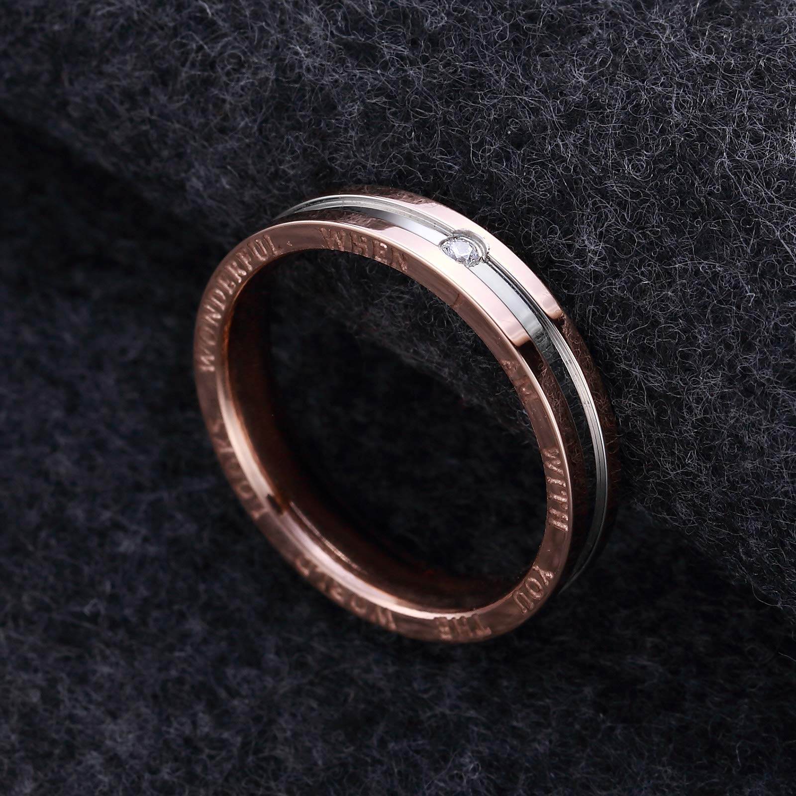Dec.bells Silver Rose Gold Two Tone Stainless Steel Promise Ring Band Small Ring for Her (Size 5) by Dec.bells (Image #3)
