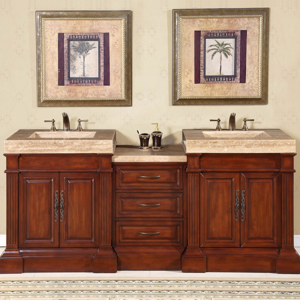Amazon.com: Silkroad Exclusive Travertine Integral Sink Bathroom ...
