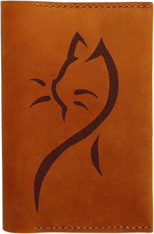 Lovely Cat Tattoo Handmade Genuine Leather Passport Holder Case HLT/_01