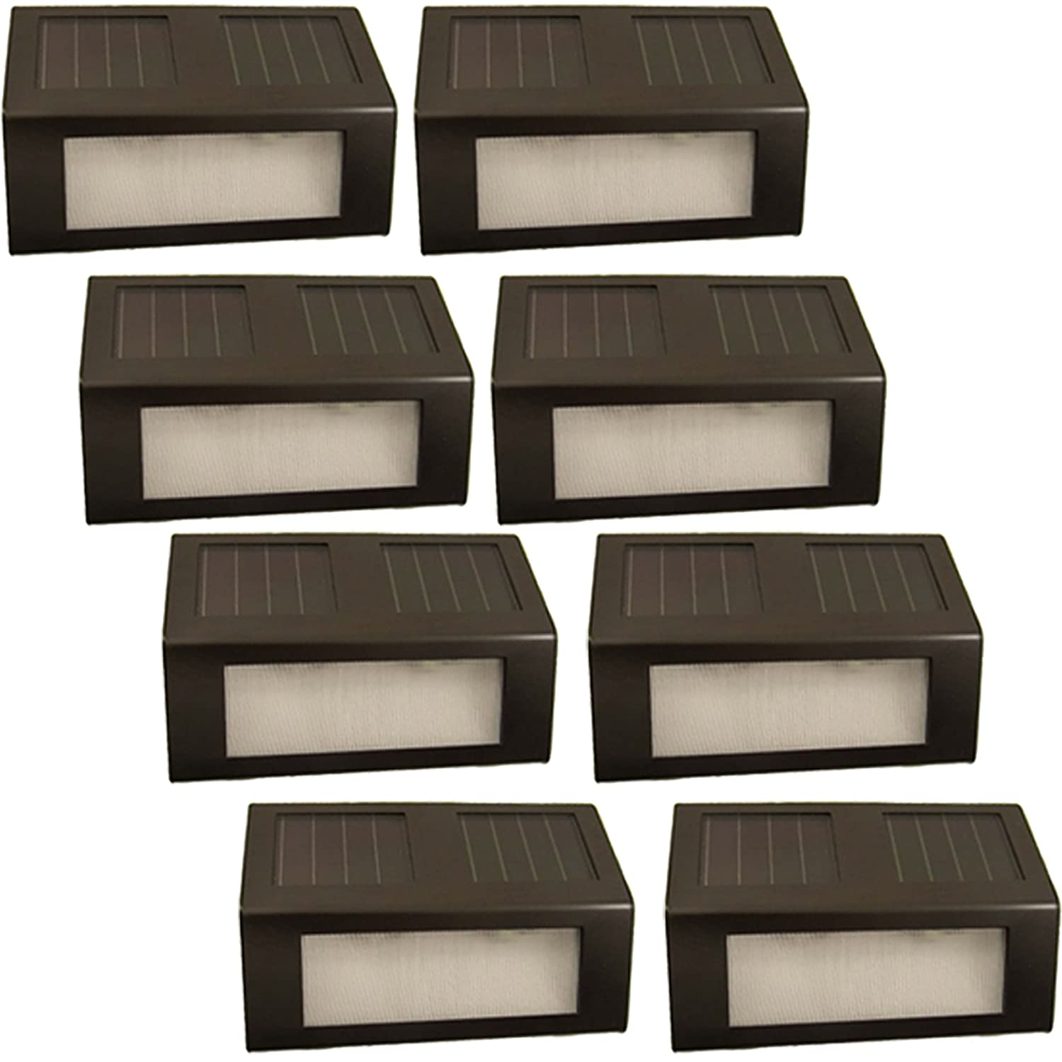 (8 Pack) Reusable Revolution Solar Outdoor LED Stair Lights (Brown)      Amazon.com