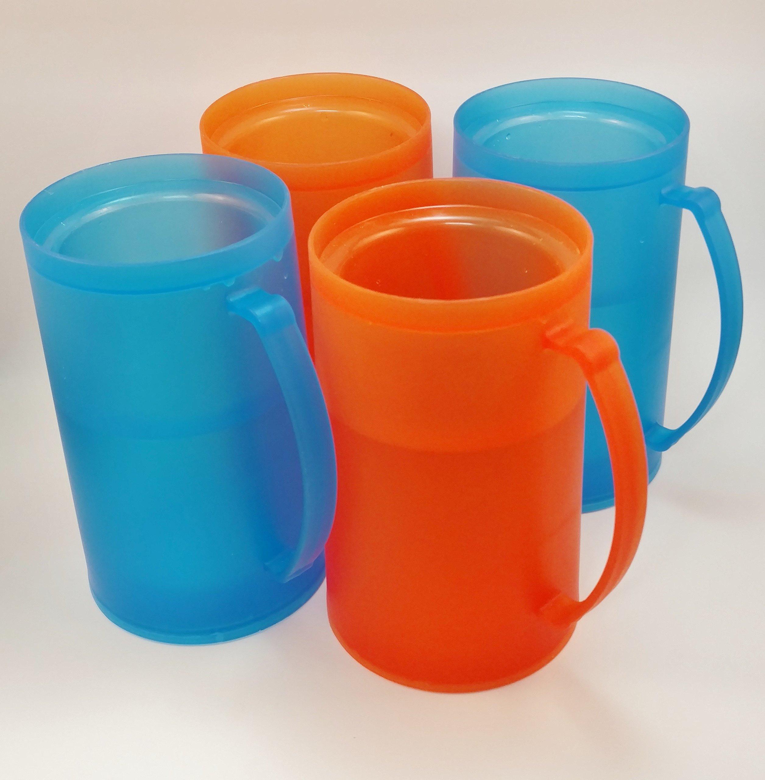Vibrant Blue and Orange Frozen (Freezer) Beverage Mugs - Set of 4