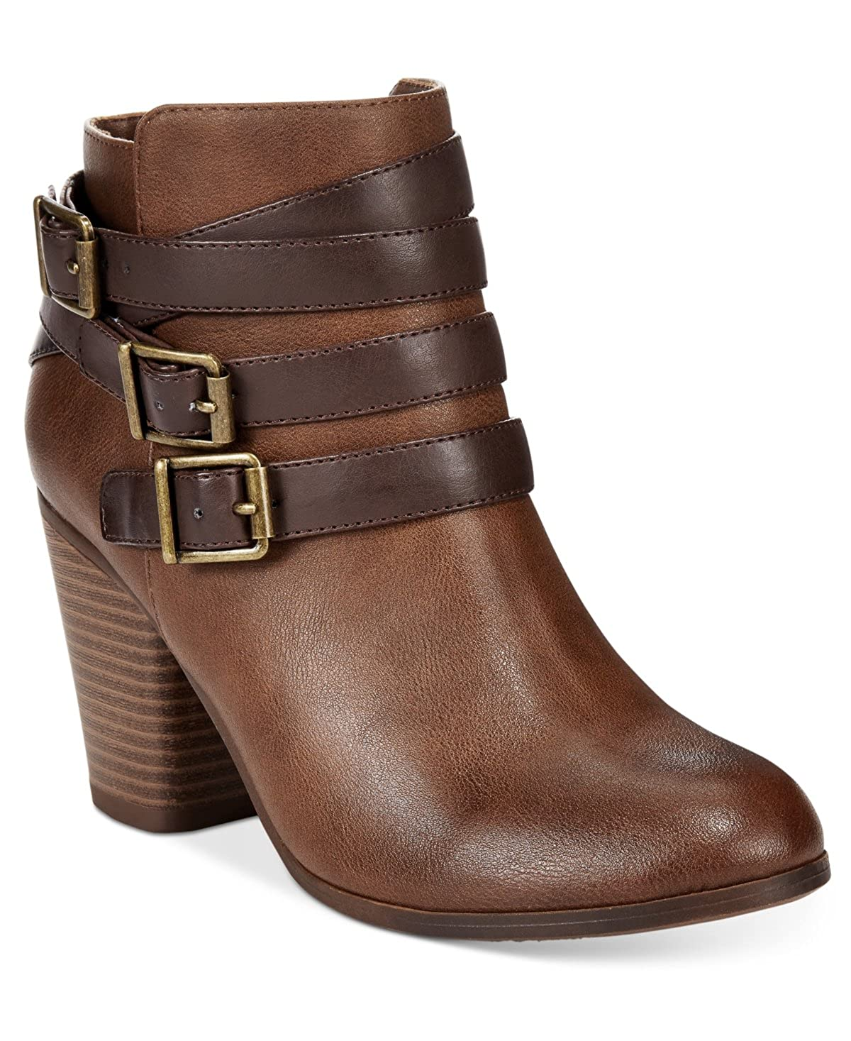 Material Girl Womens Fashionable and Stylish High Heel Ankle Booties Brown 6.5 M US