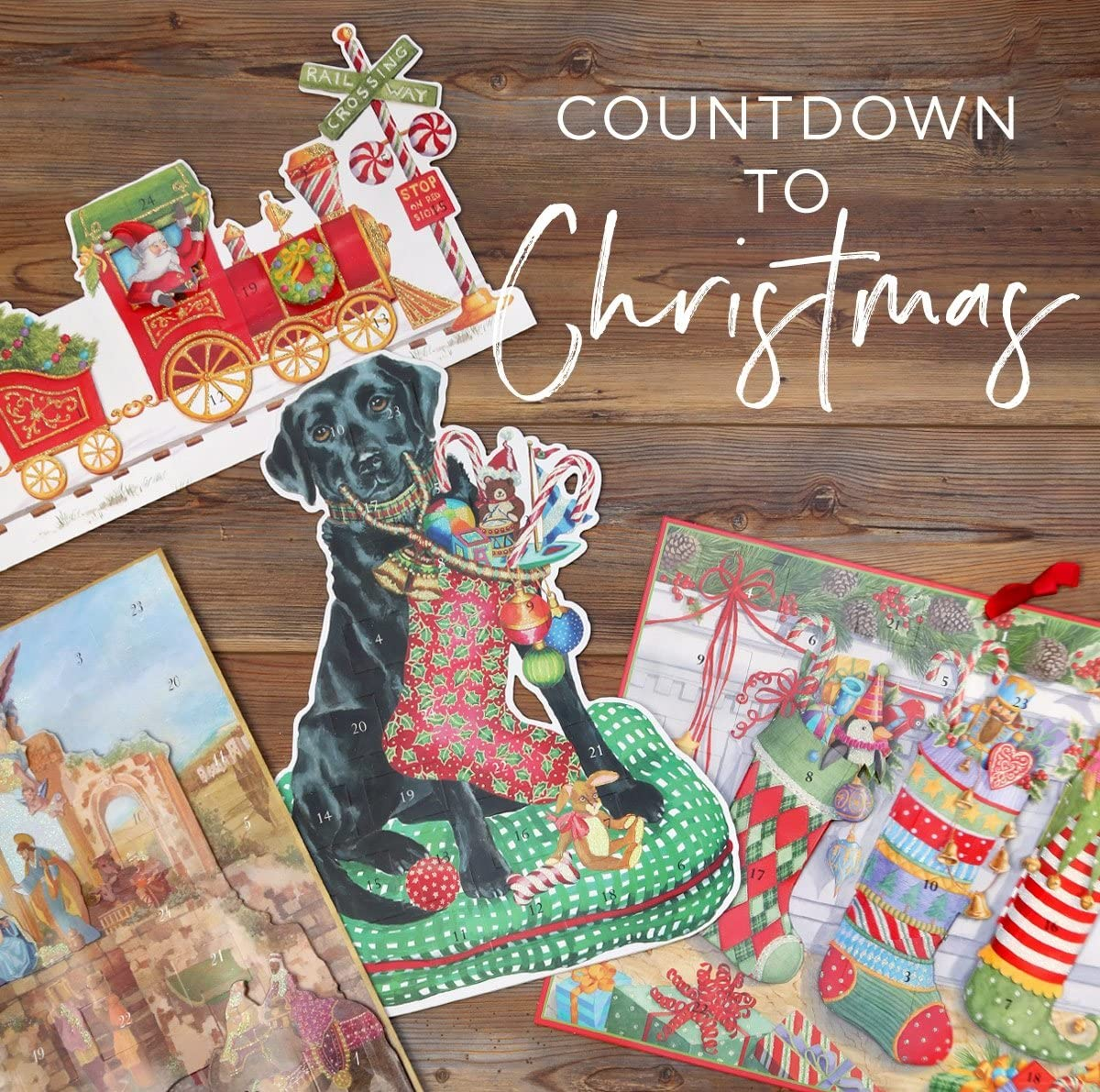 Entertaining with Caspari Christmas Lab Die Cut Standing Advent Calendar 1-Count