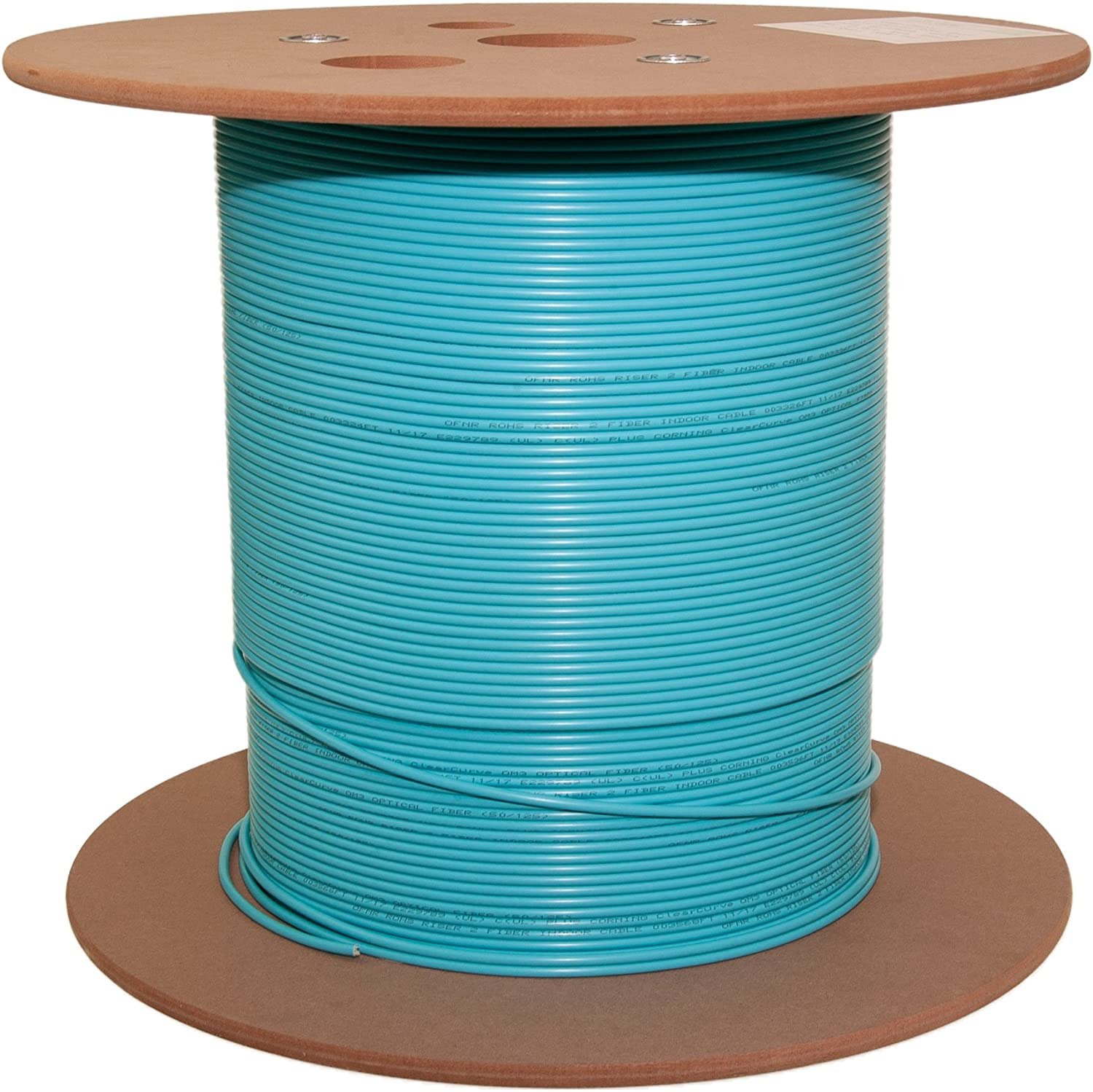 6 Fiber Indoor Distribution Fiber Optic Cable 50//125 1000 Foot Spool OM3 10 Gbit Riser Rated Aqua Multimode