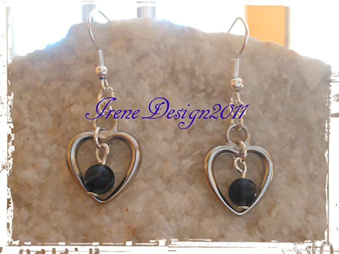 Purple Fluorite & Heart Earrings