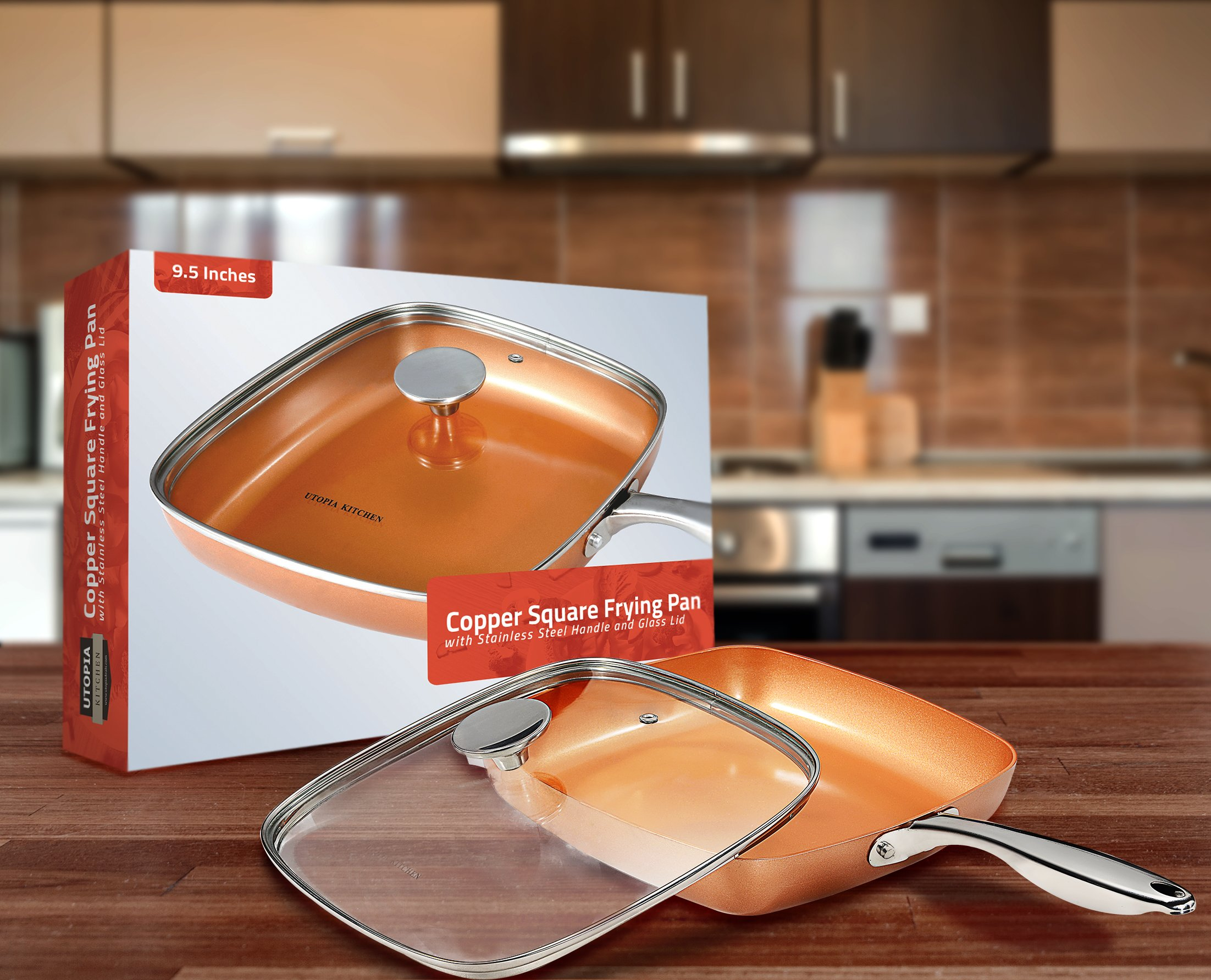 Utopia Kitchen Induction Bottom 9.5 Inches Copper Nonstick Square Frying Pan with Glass Lid and Stainless Steel Handle - Multipurpose Use for Home Kitchen and Restaurant by Utopia Kitchen (Image #2)