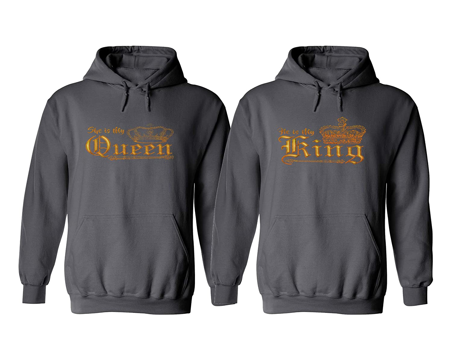 Charcoal Sweatery King and Queen Hoodies  King Crown Queen Crown Couples Hoodies  His and Hers Couples Gifts