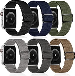 6 Pack - G.P Stretchy Nylon Solo Loop Bands Compatible with Apple Watch 44mm 42mm, Adjustable Stretch Braided Sport Elastics Women Men Strap Wristband Compatible with iWatch Series SE 6/5/4/3/SE,7/8