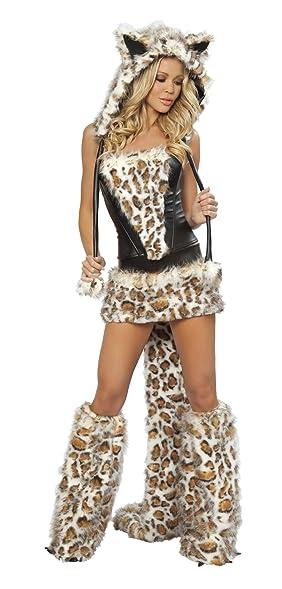 Schön J. Valentine Womenu0027s Frisky Costume Skirt And Corset, Leopard/Black, Small