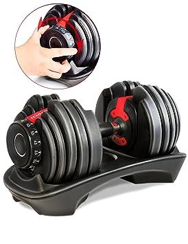 Mancuerna ajustable Sportstech 15en1-Mancuerna con un innovador sistema de clic para 2,5