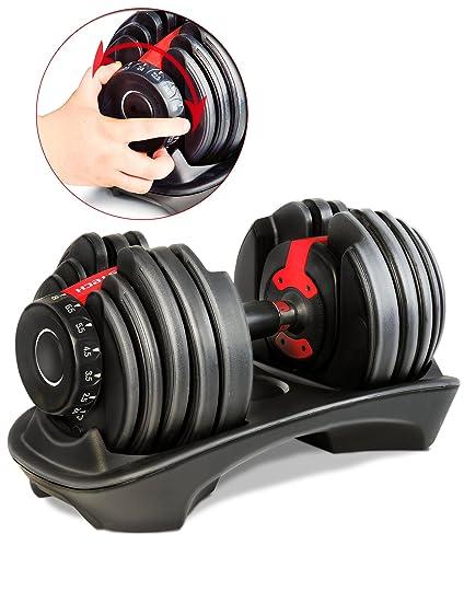 Mancuerna ajustable Sportstech 15en1-Mancuerna con un innovador sistema de clic para 2,5-24 kg ...